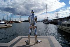 Oslo (-Patri-) Tags: blue sea sky sculpture art water oslo norway metal azul silver boats boat mar agua europa europe barco arte barcos escultura cielo noruega plateada