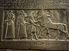 Detail of a plaster cast of the Black Obelisk of Shalmaneser III King of Assyria dated 827 BCE (6) (mharrsch) Tags: horse chicago illinois empire obelisk tribute procession universityofchicago orientalinstitute conquest assyria courtier neareast 9thcenturybce shalmaneseriii mharrsch