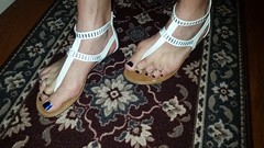 White t-strap sandals with nail polish and toe rings (2moshoes) Tags: white man toes sandals nailpolish toerings