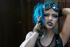 Miss Storm (Busha_b) Tags: portrait net model punk goggles tattoos attitude negativespace sneer bluehair alternative cyber inked postapocalyptic
