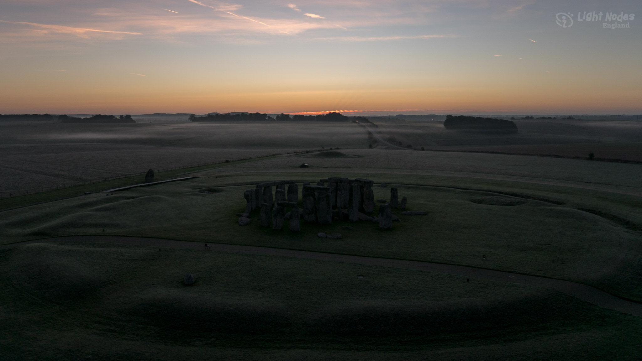 Sunrise at prehistoric Stonehenge with GM1