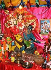 india (gerben more) Tags: red india colors statue shrine colours delhi religion goddess lion demon puja newdelhi