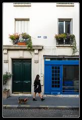 Dog walking (Maestr!0_0!) Tags: street door urban woman dog chien paris xpro fuji femme rue urbain parisienne
