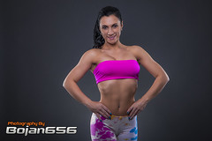 Fitness Girl (Bojan656) Tags: pink girl beauty sport back muscle gray fitness abs thunder cnon