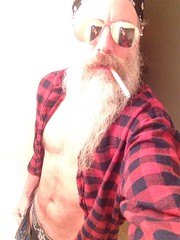 A Quickie (Cowboy Tommy) Tags: jockstrap hairy hot sexy sunglasses sex beard cigarette smoke chest manly crotch smoking shade plaid rugged undressed openshirt facefur beardporn