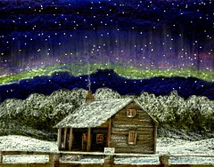 Northern Skies (traqair57) Tags: winter mountain snow stars cabin snowing crayons northernlights stushie