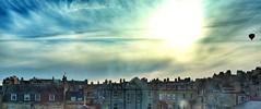 Ballon rising over bath city (AWLancaster) Tags: sunset wallpaper sky skyline bath balloon hotairballoon x100 bathcity cloudsinthesky snapseed