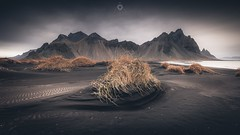 Rippled Sands (Augmented Reality Images (Getty Contributor)) Tags: sea mountain black beach grass landscape iceland sand adobe editing hdr lightroom vestrahorn stokksnes