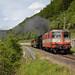 SBB Re 420 109 SwissExpress vor Dampfzug bei Rümlingen