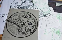DIEU PIZZA - PIZZA GOD (Teratoiid) Tags: shirt god tshirt pizza printing linocut tee impression lino dieu linogravure gravure teratoiid
