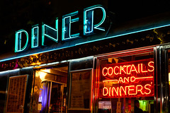 Diner at Night (David Guidas) Tags: city urban food color beach lines night 35mm aluminum neon miami diner eat drinks fujifilm xt10