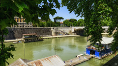 Living on the Tiber (BAN - photography) Tags: trees rome wall graffiti path foliage houseboats pontoon umbrellapines rivertiber d800e