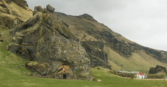 There's a crazy little shack beyond the tracks ... ;) (lunaryuna) Tags: panorama house mountains rock landscape iceland shack lunaryuna strangeness southiceland yeoldeways