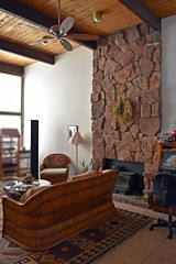 Living Room Wall (Jo-Monsoon Season I Hope!!!!) Tags: white black lamp wall tile ceramic lights fan chair fireplace rocks floor bamboo ceiling couch wreath tall odc windos 12feet