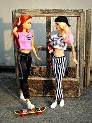 Skater girls (Deejay Bafaroy) Tags: pink red portrait white black rot scale outdoors miniature doll stripes barbie rosa sunny portrt blond blonde skateboard 16 sonnig weiss schwarz mattel striped puppe draussen streifen fashionistas miniatur gestreift rollbrett playscale lagirl