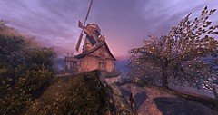 Windmill Home in the Shire (Ima Peccable) Tags: beauty shadows medieval fantasy secondlife shire lotrsecondliferegiontheshiresecondlifeparceltheshireahomelysliceofmiddleearthsecondlifex174secondlifey167secondlifez27
