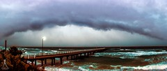 stormfront 23-06-2016 (Laws Photography | www.lawsphotography.com) Tags: ocean panorama cloud seascape clouds canon landscape pier waves pano shoreline stormy panoramic shelf storms raining stormchasing stormfront stormcell shelfcloud shelfie seafordpier canon6d lawsphotography vaughanlaws