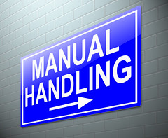 Manual handling concept. (olaruwaju) Tags: manual handling heavy goods health safety procedure procedures regulations lifting lift carry carrying moving move loads load loading correct correctly work place workplace job sign blue concept conceptual illustration