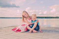Siblings (Ville Airo) Tags: boy summer sky lake love girl june kids finland outdoor siblings