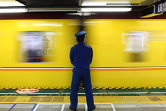 Contrast agent (Elios.k) Tags: horizontal indoors people one person man japanese worker uniform standing still train station departure moving movement motion blur yellow colour color contrast window platform passenger ginza line metro subway travel travelling november 2015 vacation canon 5dmkii camera photography asakusa taitōdistrict taito tokyo city kantōregion kanto tokyometropolis honsu asia japan happyplanet asiafavorites