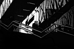 ...whereareyou... (ines_maria) Tags: bw vienna urban silhouette light city stairs contrast line phone reflection monochrome