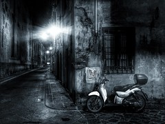 Noir nights - iPhone (Jim Nix / Nomadic Pursuits) Tags: alley scooter noir streetscene blackandwhite monochrome firenze florence italy europe travel snapseed iphone