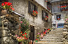 The end of the staircase (Jolulo2012) Tags: stonestaircase ornate flowerpots oldman climbing oldvillage oldhouse beautiful