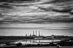 The refinery (Andy2305) Tags: refinery oil industrial pembrokeshire milfordhaven clouds sky blackandwhite monochrome landscape