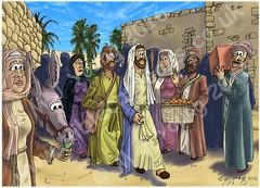 Luke 19 - Zacchaeus the tax collector - Scene 01 - Jesus enters Jericho (Martin Young 42) Tags: luke luke191 lukesgospel gospel jesus jesuschrist marymagdalene james jamessonofzebedee walking jericho disciples zacchaeus