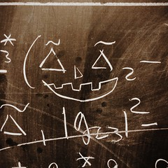 10-20-2014 (whlteXbread) Tags: dailies 2014 iphone5s boulder equation defacement afternoon jackolantern colorado fall graffiti maths chalkboard faceit365:date=20141020