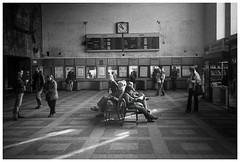 *** (Spartaxus) Tags: street bw station analog train hp5 ilford silesia gliwice