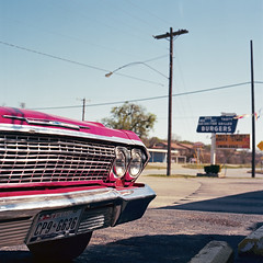 Jesse's Drive In #3. Mineral Wells, TX 76067 (Terrorkitten) Tags: red usa signs 120 6x6 film architecture america vintage square us texas photographer tx roadtrip hasselblad americana cloudless planar 80mm hasselblad501cm c41 chevroletimpala stepbackintime mineralwells filmisnotdead us281 kodakektar bebbington 76067 travelerphotos terrorkitten philbebbington hsslbld jessesdrivein mineralwellstx130313usahasselbladektar009002