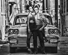 Zelda and Efren in the alley behind the Launchpad (Mitch Tillison Photography) Tags: blackandwhite hot sexy male classic car female prime mono photo amazing alley couple shoot noir pentax gorgeous albuquerque hunk oldschool retro chemistry 1958 sultry pontiac abs fit launchpad stylish k3 chieftain fa77mm