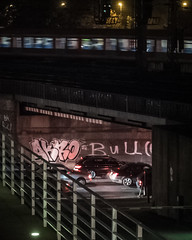 commuting (mahohn) Tags: auto bridge car night train dark deutschland evening abend nacht hamburg zug 45 brcke fujix10