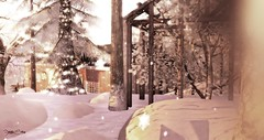 Prides Crossing (Sannita_Cortes) Tags: wood trees winter light snow cold birds animals angel landscape scenery sailing newengland sl secondlife virtual weasel mystical sled pridescrossing virtuallandscape serenefootman