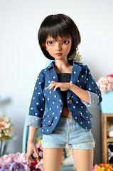 blue blazer (Milk and Bunny) Tags: ball doll tan jacket bjd blazer fairyland msd jointed minifee mirwen milkbunnyboutique
