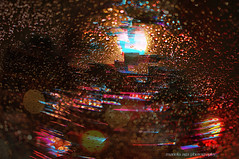 Rainy Xmas (mariola aga ~ slowing down) Tags: street xmas macro tree art cars rain closeup night lights mix raindrops blending fiberlight 2photos thegalaxy