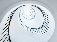 Spiraling (Philipp Klinger Photography) Tags: trip travel light vacation bw white holiday abstract black lines museum architecture stairs germany munich mnchen spiral bayern deutschland bavaria blackwhite nikon stair angle bright geometry curves wide case staircase railing minimalism philipp d800 deutsches deutschesmuseum ballustrade klinger spiraling