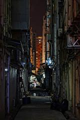 HK Backstage (Yann LECOEUR Photography) Tags: hk orange woman trash dark hongkong lights purple market pipes perspective dirty machinery bags backstage ac passage strret compressors yalestudio yannlecoeur hkbackstage
