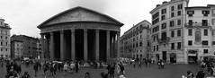 Pantheon (Vitto P.) Tags: bw italy panorama rome roma italia pano pantheon e piazza capitale turismo bianco nero turisti italiana