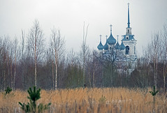 A country church (andrey.senov) Tags: trees winter tower church field grass fuji bell russia faded fujifilm orthodox province orthodoxy     kostroma  inthecountry xa1   35faves      fujifilmxa1