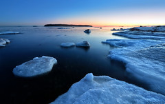 Blue hour by the sea (tinamar789) Tags: blue winter sunset sea snow seascape cold ice finland dark landscape coast helsinki rocks frost freezing seashore