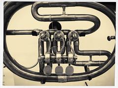 Pipe Dream Music (MPnormaleye) Tags: musician monochrome museum keys trumpet exhibit historic musical utata instrument horn brass tubing valves platinum mim iphone flugelhorn