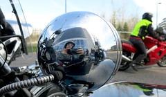 Chrome Selfie (Georgie_grrl) Tags: toronto ontario reflection me women shiny awesome helmet motorcycles shades celebration explore chrome scooters selfie 10thanniversary grrlpower canonpowershotg15 internationalfemalerideday2016
