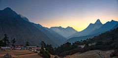 View of Everest at down from Tengboche, Ama Dablam (right), Lhotse and Mt. Everest (center) and Taboche (left) (CamelKW) Tags: nepal down everest lhotse amadablam mteverest 2016 tengboche taboche everestpanoram