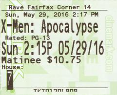 2016-05-29 - X-Men - Apocalypse (normally) Tags: movie apocalypse may xmen ticketstub 2016
