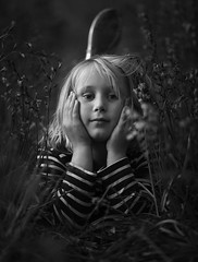 Thoughts (SimonTHGolfer) Tags: portrait blackandwhite girl monochrome forest woodland mono nikon thought child thinking d750 f28 70200mm environmentalportrait portraitphotography simontalbothurnphotography simontalbothurn