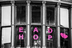 EAD HOP 's (tootdood) Tags: street blackandwhite colour window glass shop manchester oldham selective  s canon70d emblems