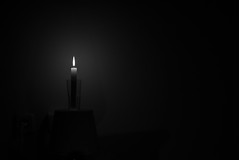 one light (ChrisRSouthland (back in Athens - at last)) Tags: nightphotography bw monochrome night dark mood candle darkness nightshot atmosphere candlelight d800 onelight nikond800 sigmaart50mmf14