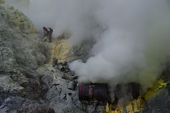 Various devices used to cool the liquid sulphur so that it can be collected (JohnMawer) Tags: indonesia volcano java jawatimur ijen sempol